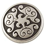 "Renaissance Swirl Metal Button in Antique Silver Finish 3/4"" (18mm) Size"
