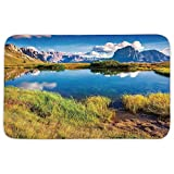 Rectangular Area Rug Mat Rug,Lake House Decor,Summer Sunny Morning on the Sassolungo Langkofel and Sella Group Valley Gardena,Green Blue,Home Decor Mat with Non Slip Backing
