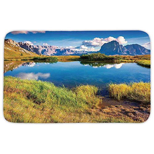 Rectangular Area Rug Mat Rug,Lake House Decor,Summer Sunny Morning on the Sassolungo Langkofel and Sella Group Valley Gardena,Green Blue,Home Decor Mat with Non Slip Backing by iPrint