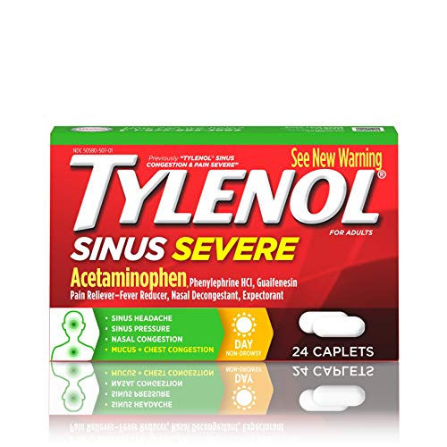 - Tylenol Sinus Severe Daytime Caplets with Acetaminophen, Guaifenesin & Phenylephrine HCl, 24 ct