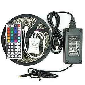 eBoTrade 5050 Strip Light, 16.4ft 5M Waterproof Flexible Strip 300 LEDs Color Changing RGB SMD5050 LED Light Strip Kit RGB 5M + 44Key Remote Controller + 12V 5A Power Supply