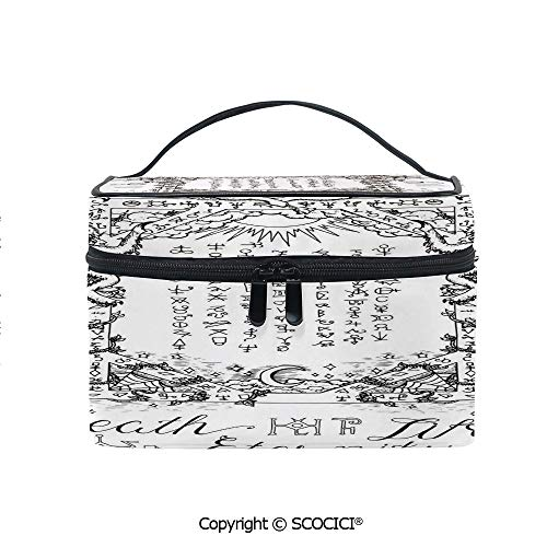 Printed Portable Travel Makeup Cosmetic Bag Gothic Medieval Magic and Spell Symbols Eternal Life Ritual Chart Art Theme Durable storage bag for Women Girls
