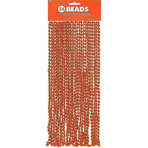 Orange Mardi Gras Beads (Amscan 24Count Beads Necklace,)