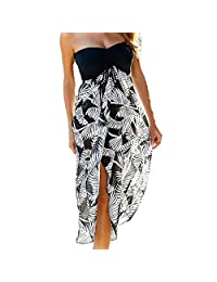 8021e7abf9e Min Qiao Women s Off Shoulder Black White Print Beach Cover Up Chiffon Maxi  Dresses