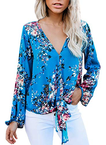 Arainlo Women's 3/4 Sleeves V-Neck Floral Tie Knot Front Tops 2019 Fashion Blouses Long Sleeve Elegant Tops X-Large Sky Blue ()
