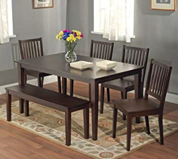 Amazoncom HavanaCarson Large Dining Table Color Espresso