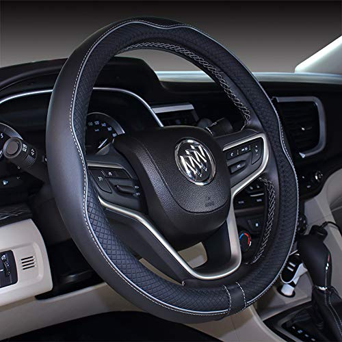 (Micro Fiber Leather Car Steering wheel Cover 15 inches (Black Gray))