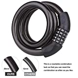 BIGLUFU Bike Lock Scooter Bicycle Motorcycle Cable Chain Locks Long, Heavy Duty Cables Resettable, 5-Digit Coiled Secure Combination Combiantions (120, 20)