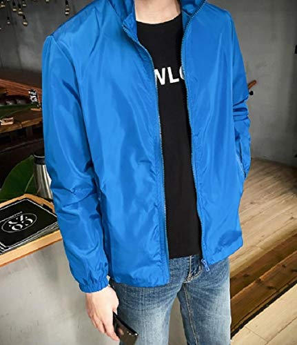 Sapphire Color Size Mandarin Collar Solid Blue Full Mens Pockets RkBaoye Zip Jackets Plus C8qRwP