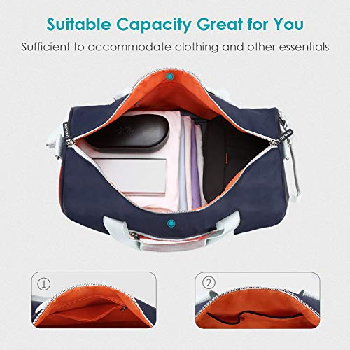 90a0ddde97d REYLEO Sports Gym Bag Small Travel Duffel Bag Water Resistant Bags with  Leather Handle Color Blocking