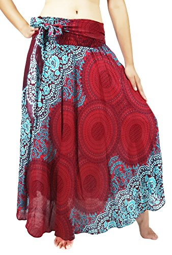 Lovely Creations Women Long Bohemian Maxi Skirts Midi Dress US Size 0-16 (AS Red Blue)