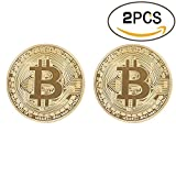 Image of Bitcoin Coin Deluxe Collector's Set | Featuring the Limited Edition Original Commemorative Tokens by Zcccom | Each Coin Comes w/ a Plastic Round Display Case (Double Gold)