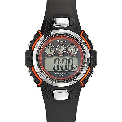 Tekday - Reloj de cuarzo unisex, correa de plástico color negro