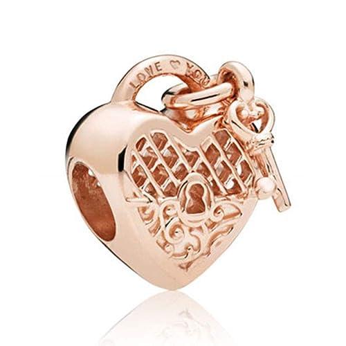 9196a0278912f SUNWIDE Love You Lock Key fit Pandora Charms Bracelets