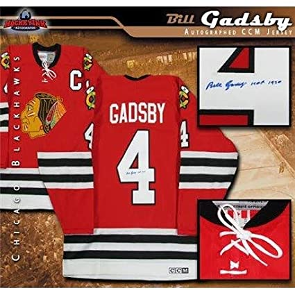 Image Unavailable. Image not available for. Color  Autographed Bill Gadsby  Jersey - Inscribed Chicago Blackhawks Vintage Red CCM ... 4b3dd4fa1