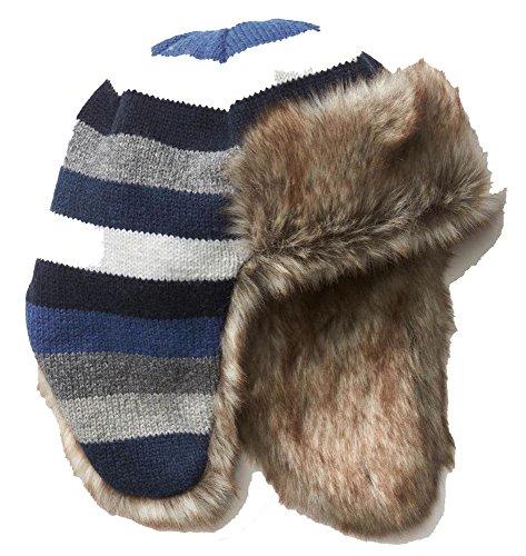 Baby Gap Hats (Baby Gap Boys Blue Gray Stripe Faux Fur Fleece Lined Trapper Hat XS/S)