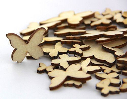 Pack of Mixed Size Natural Wood Color Little Butterfly Shaped Wooden Crafting Sewing Scarpbooking DIY Buttons Over (Yellow Butterfly Button)