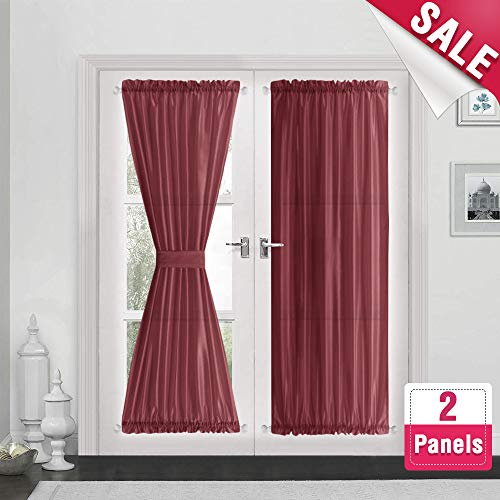 Privacy French Door Panel Curtains 72 inch Length Christmas Day Faux Silk French Door Curtain Panels Satin French Door Panels Burgundy Red, 2 Panels, Tiebacks Included