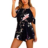 Sunmoot Sexy Jumpsuits For Women Cold Shoulder Romper Bardot Style In Floral Print Summer Dress (XS-S, Black)
