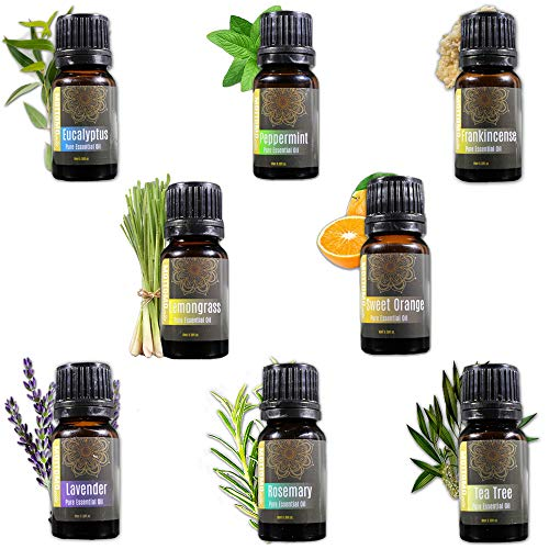 MOTTOMO Aromatherapy Essential Oil Top 8 Set - 100% Pure Therapeutic Grade (Lavender, Tea Tree, Eucalyptus, Peppermint, Sweet Orange, Lemongrass, Rosemary, Frankincense)