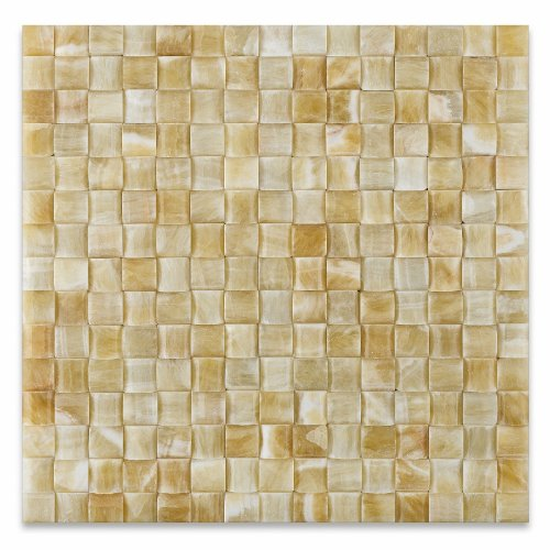 Natural Tile 5 Finish Piece (Honey Onyx 3D Small Bread Mosaic Tile, Polished - Box of 5 sq. ft.)