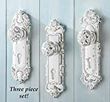 Sculpted Hand Painted White Antique Door Knob Wall Hook 3pc Set