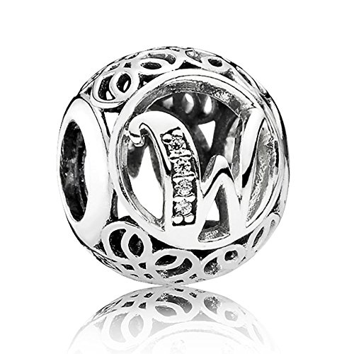 The Kiss Vintage Letter W Clear CZ 925 Sterling Silver Bead Fits European Charm - Charmed Memories Kays Jewelry