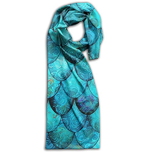 Doppyee Aqua + Turquoise Mermaid Or Dragon Scales Super Soft Classic Cashmere Pashmina Feel Winter Scarf For Men And Women by Doppyee (Image #1)