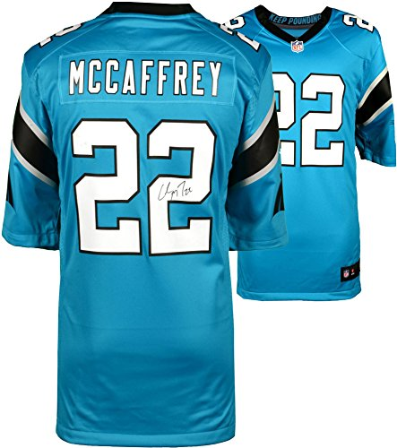 Christian McCaffrey Carolina Panthers Autographed Nike Game Blue Jersey - Fanatics Authentic Certified ()