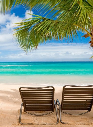 Island Rectangle Magnet (Rectangle Refrigerator Magnet - Two Beach Chairs on Paradise Tropical Island w/ Ocean & Sand)