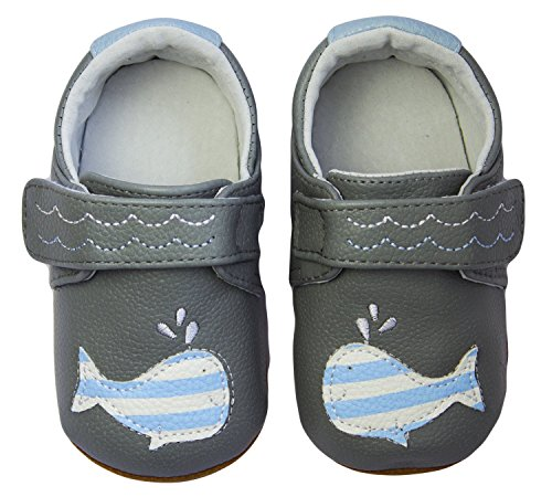 Rose & Chocolat RCM  Happy Whale Grey - Zapatos para bebes para bebé-niños Gris (grey)