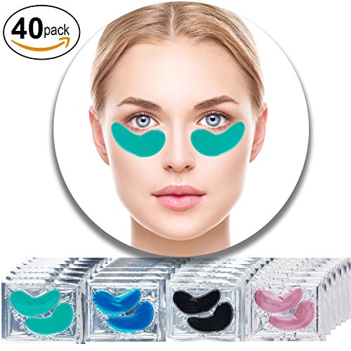 Set Kit of 40 Pairs Collagen Eyes Masks With Green Aloe Vera, Red Wine, Black Mud Volcanic Soil and Blue Marine Algae Seaweed for Moisture, Wrinkles Removal, Firming and (Professional Seaweed)
