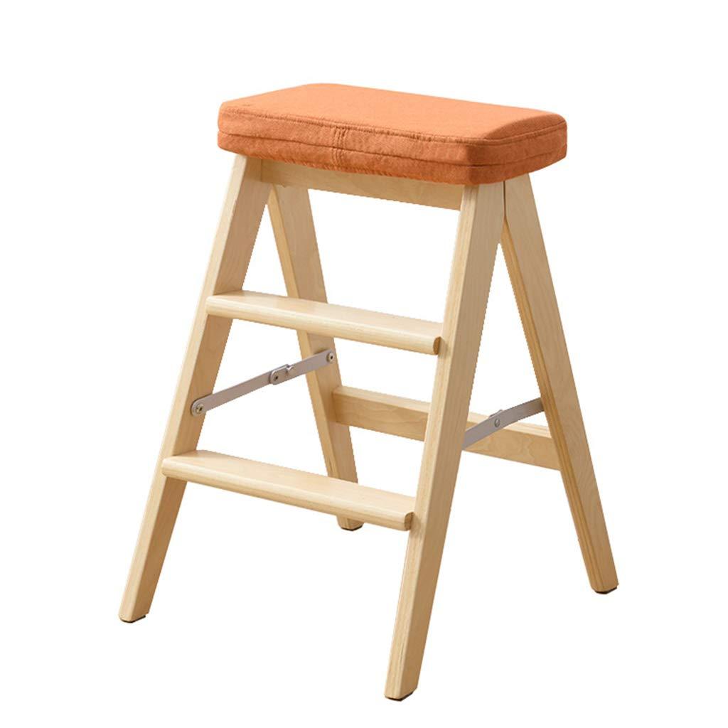 QING MEI ステップスツール、3ステップ木製多機能折りたたみステップスツール、ステップスツール、キッチンライブラリオフィス(オレンジ)取り外し可能なマットサイズ42x48x64cm A++ (色 : 木の色) B07JXYVGD2 木の色