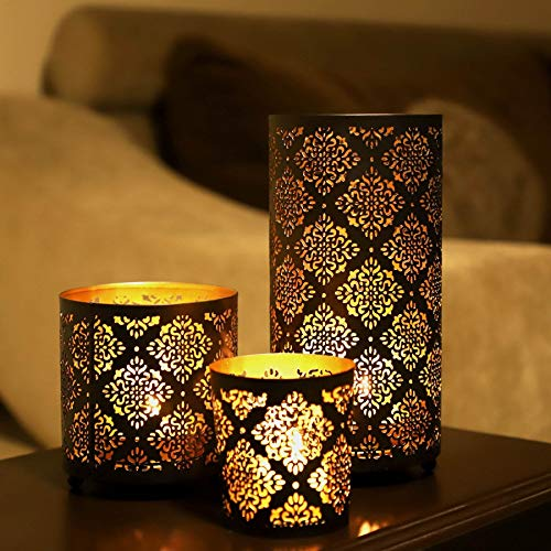 KRIXOT Candle Holders Set of 3 in Metallic Black Indian Motif with Beautiful Flickering Reflections | Complimentary 3 Glass Votive Candles | Ideal for Gifting, Home Decor and Wedding Decorations