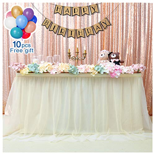 QueenDream 3 Yards Ivory Fluffy Tulle Table Skirt Tutu Tableware TableCloth Party Baby Shower Birthday Wedding Decorations (L9(ft) H 30in)