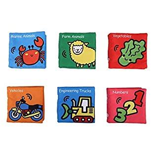 6pcs/Set Baby Soft Cloth Book, Soft Fabric Sensory Book Classic Early Educational Discovery Books Gift for Kids Children Toddler 1 Year Old(A)