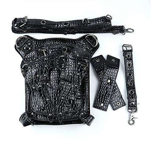 - LCLZ PU Leather Europe and America Punk Shoulder Messenger Bag Female Outdoor Travel Tactical Pockets Male Black Snake Skin Texture Metal Rivet Motorcycle Bag