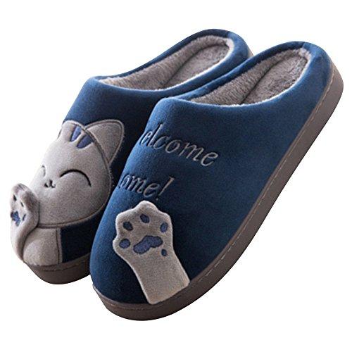 Minetom Winter Plüsch Hausschuhe Damen Warme Baumwolle mit Cartoon Katze Rutschfeste Indoor Hause Slippers Home Wärmehausschuhe für Damen Herren A Blau