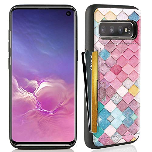 ZVE Case for Samsung Galaxy S10 (2019), 6.1 inch, Case with Credit Card Holder Slot Slim Leather Pocket Protective Case Cover for Samsung Galaxy S10 (2019), 6.1 inch - Mermaid Wall (Best Student Credit Card 2019)