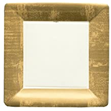 Caspari Entertaining Square Dinner Plates, Gold Leaf/Ivory, 8-Pack