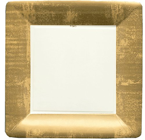 - Entertaining with Caspari Square Dinner Plates, Gold Leaf/Ivory, 8-Pack