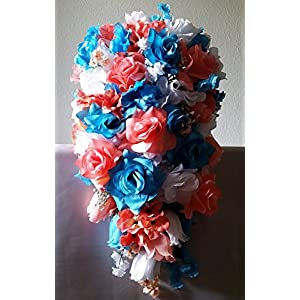 Coral Turquoise White Rose Hydrangea Cascading Bridal Wedding Bouquet & Boutonniere 52
