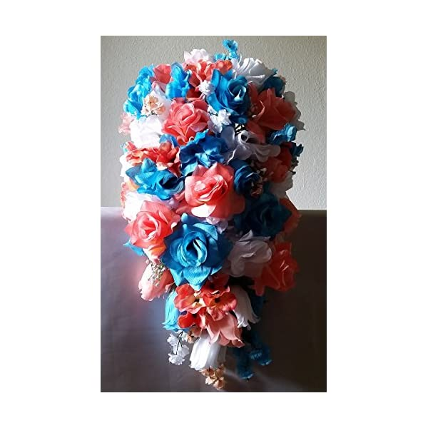 Coral Turquoise White Rose Hydrangea Cascading Bridal Wedding Bouquet & Boutonniere