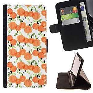 For HTC One A9 Case , Manzana de la acuarela blanca Melocotón Naranja- la tarjeta de Crédito Slots PU Funda de cuero Monedero caso cubierta de piel