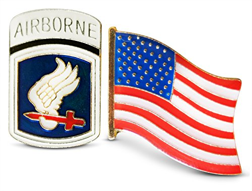 Patriotic 173rd Airborne Brigade Division & American Flag Lapel or Hat Pin & Tie Tack Set with Clutch Back by Novel Merk (Division 173rd Airborne)