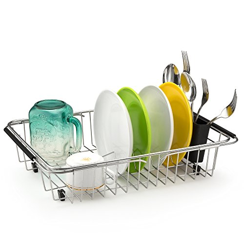 SANNO Expandable Dish drying Rack Kitchen Sink Sponge Holder Over the Sink Dish Drainer,Dish Rack In Sink or On Counter with Utensil Silverware Storage Holder, Rustproof Stainless Steel