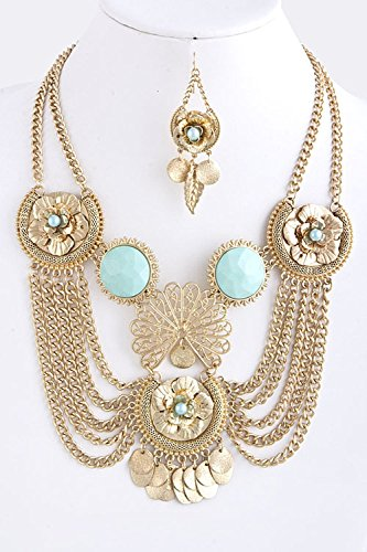 TRENDY FASHION JEWELRY CHAIN DRAPE BEADED STATEMENT NECKLACE BY FASHION DESTINATION | (Mint)