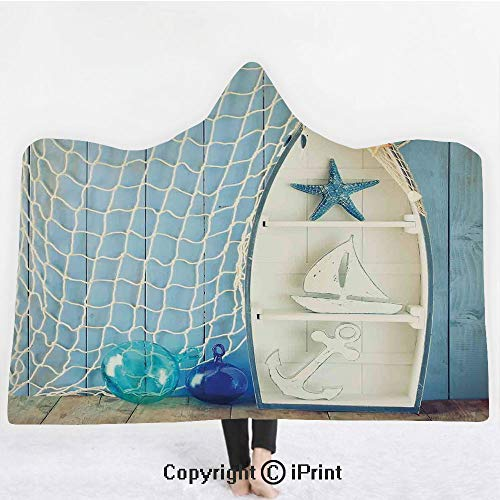 "(Nautical Decor 3D Print Soft Hooded Blanket Boys Girls Premium Throw Blanket,Sea Objects on Wooden with Vintage Boat Starfish Shell Fishing Net Photo,Lightweight Microfiber(Kids 50""x60"") Blue White )"