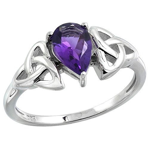 Sterling Silver Celtic Knot Trinity Ring with Natural Amethyst, 5/16 inch wide, size 8