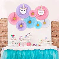 Unicorn party hanging paper fans decoration set